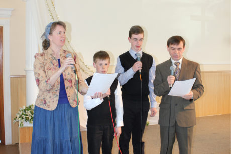 Singing an Easter special at the church