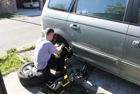 Fixing our van's brakes.