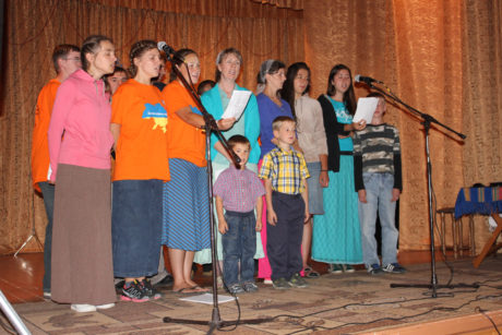 Our group singing at the meeting