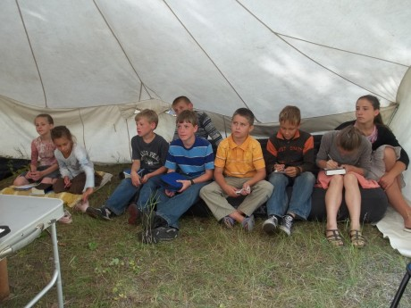 Bible lesson in a tent