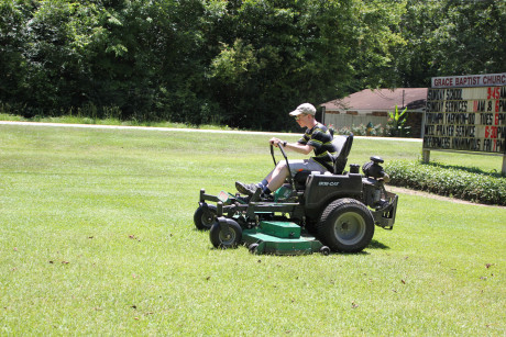 This lawn mower is really fast!