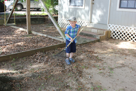 Cleaning up the grounds for VBS